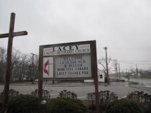 A welcome sign for the Men in Mission trip to New Jersey at the end of March